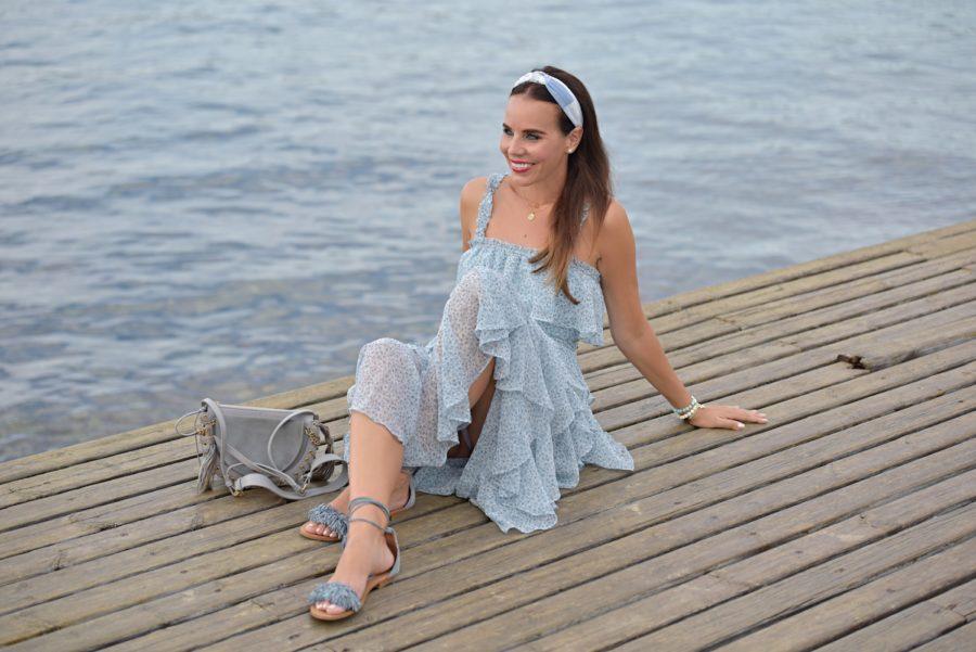 Stile del giorno: il lungo abito azzurro - Lorella Flego